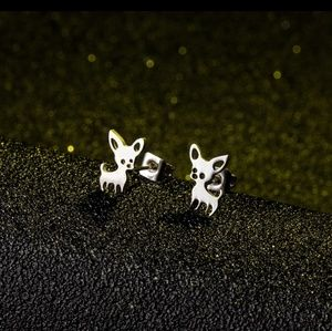 Jewelry - NEW! Silver Chihuahua Ear Studs